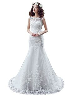 4bf6cf0952714 Sarahbridal Women's Sexy Mermaid Wedding Dress Vintage Lace Applique Long Bridal  Gown Ivory US4 Wedding Party