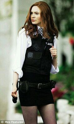 tell me the dads at home watch Dr Who and see his assistant being beautiful and sexy and don't clap their hands': Matt Smith on stunning companions Amy Pond (played by Karen Gillan) [hint hint. my halloween costume] Geronimo, Tardis, Karen Gilan, Karen Sheila Gillan, Karen Gillan Dr Who, Police Outfit, Doctor Who Companions, Matt Smith, The Girl Who