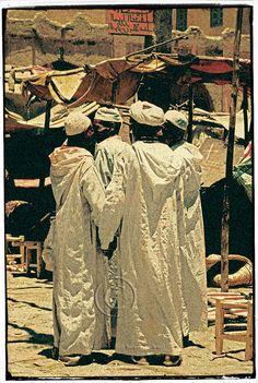 White djellabas - Rissani, Morocco