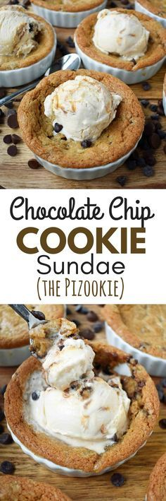Mini Individual Chocolate Chip Cookie Sundae (Pizookie). The best chocolate chip cookie dough with a few secret techniques. The individual pizookies are baked in a ramekin until the edges are golden brown and the center is warm and gooey. The warm chocola