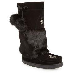 Women's Manitobah Mukluks Snowy Owl Waterproof Genuine Fur Boot (800 BRL) ❤ liked on Polyvore featuring shoes, boots, black rabbit fur suede, waterproof boots, waterproof shoes, black moccasin boots, mocassin boots and black waterproof boots