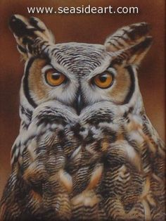 Monarch-Great Horned Owl is a watercolor  painting with sterling silver by Rebecca Latham. The art measures 8″ x 6″ and the frame is 12″ x 10″, frame included.