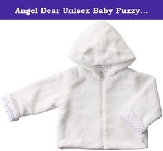 Angel Dear Unisex Baby Fuzzy Jacket (Baby)-White - 6-12 Months. Fuzzy Jacket (Baby)-White This warm and cozy collection will bring smiles to everyone. 100% Cotton Pin Dot lining and ear details on the hood are sure to please. 100% Polyester Outer/ 100% Cotton Lining. Machine Washable.