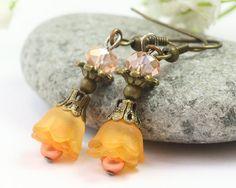 Lucite Flower Earrings Dangling Earrings Orange by TrinketHouse