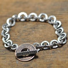 Ek Paisa Bracelet sterling silver old pice coin hand made by markaplan