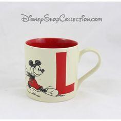 Mug Mickey DISNEYLAND PARIS lettre L tasse céramique beige rouge