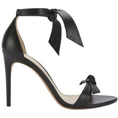 Alexandre Birman Women's Clarita Double Bow Black Leather Sandals (1.935 BRL) ❤ liked on Polyvore featuring shoes, sandals, sandales, black, black stilettos, black strap sandals, bow sandals, black leather sandals and strap sandals