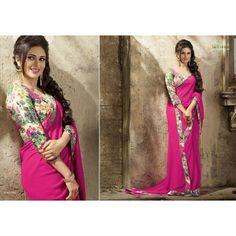 Gorgeous work wear pink printed saree