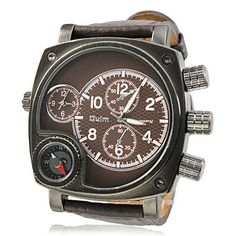Bússola Estilo PU Analógico Quartz Relógio de pulso dos homens (2 Time Zone, Brown) – BRL R$ 51,62