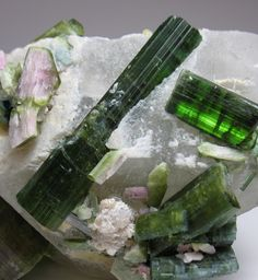 Watermelon TOURMALINE crystals on Quartz - isn't it interesting? They grow like this! We've much to learn about crystals