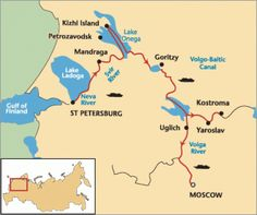 Volga River Map from St. Peterbourg to Moscow , Russia