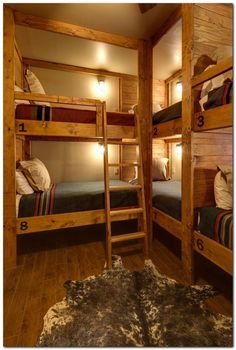 Lodge-Style Bunk Room With Rustic Built-In Bunk Beds - This rustic lodge-style bunk room boasts a slew of built-in bunk beds, maximizing space in the small room. Coordinating bedding keeps the space feeling neat.