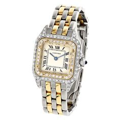 Womens Cartier Panthere Mini 18K Gold Steel Vintage Diamond Watch