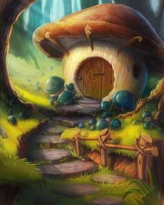 Alice in Wonderland Diamond Painting Full Drill Fantasy Art Landscapes, Fantasy Landscape, Fantasy Artwork, Mushroom House, Mushroom Art, Arte Disney, Fairy Art, Art And Illustration, Fantasy World