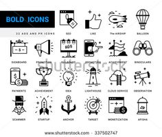 Bold vector icons in a modern style. Linear elements with potting black. Marketing Advertising and PR, methods of promotion, business management, distribution of the objectives and resources, - stock vector