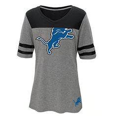 NFL Detroit Lions Girls Football Tee Short sleeve Heather Grey Medium 79 ** You can find out more details at the link of the image.