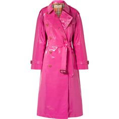 Burberry The Eastheath coated-cotton trench coat found on Polyvore featuring outerwear, coats, bright pink, double breasted coat, burberry, double-breasted trench coats, pink trench coats and button coat