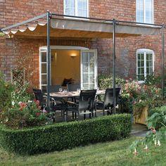 "10'10"" x 9'11"" FT (3.3 x 3m) Retractable Metal Garden Pergola Canopy Patio Awning"
