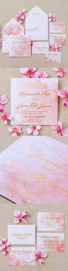 Watercolor #Wedding #Invitation by @engagingpapers. Celebrate your love story in a sea of handprinted inspired #watercolor design. This 7″x7″ 2 ply square invitation is a statement piece printed in a one color #metallic ink of your choice. The envelope liner carries the watercolor theme printed directly on the inside envelope. RSVP card and envelope completes the set!