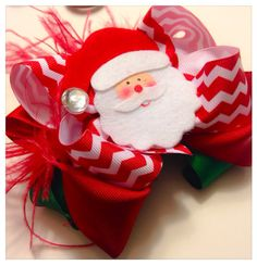 Christmas Red and White Chevron Santa Claus Hair Bow  on Etsy, $12.00
