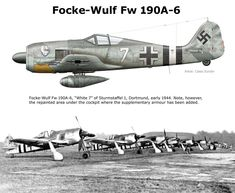 Focke-Wulf (FW-190/A6): Various modifications had caused the weight of the aircraft to increase. To correct this and to allow better weapons to be installed in the wings, a structurally redesigned and lighter wing was introduced. A new FuG-16/ZE radio navigation system was fitted in conjunction with a FuG-10/ZY radio. Between July 1943 - April 1944, 963 A6's were built.