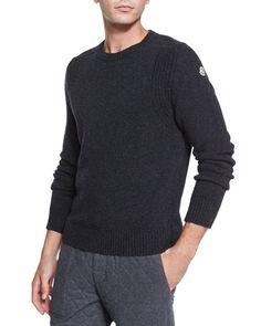 N3G8G Moncler Wool Crewneck Sweater, Gray