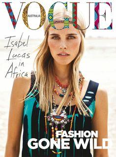 Vogue cover. Hij spreekt me aan omdat het logo anders is dan anders. Het heeft prints en kleuren wat aansluit bij het thema van dit nummer; Africa. Deze cover ademt het thema. Het straal Africa uit. Het is ook een mooie foto.
