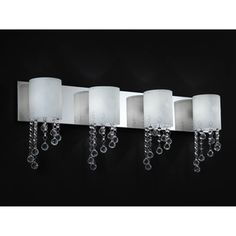 @Overstock - Jewel Chrome Four-Light Vanity Fixture - Crystal bead droplets shimmer against chrome hardware on this four light vanity, diffusing the light from the warm matte opal shades. This beautiful vanity fixture is the perfect accent for any decor.  http://www.overstock.com/Home-Garden/Jewel-Chrome-Four-Light-Vanity-Fixture/7897217/product.html?CID=214117 Add to cart to see special price