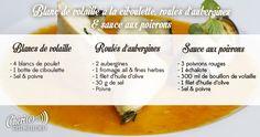 chéri(e), c'est moi le chef - Recette du 13/03/17 : Blanc de volaille à la ciboulette - roulés d'aubergines - sauce aux poivrons