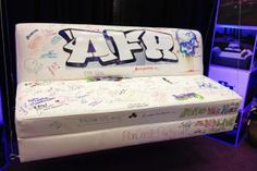 """Very Cute Idea for a Mitzvah!    The new graffiti-inspired """"Tag It"""" line from AFR Event Furnishings includes items such as leather sofas, chairs, acrylic tables, and ottomans that guests can permanently leave their mark on with Sharpies. The furniture items, which are for sale only, can be displayed in the office post-event."""