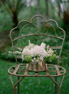 Beautiful bouquet of flowers in a metal container. Eye For Design: The White Album - Decorating in the French Country Style Beautiful Bouquet Of Flowers, Beautiful Flowers, Fresh Flowers, Garden Chairs, Garden Furniture, Wrought Iron Chairs, Metal Chairs, Chair Planter, The White Album