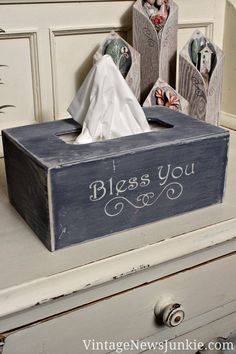 DIY Kleenex box. I might not make it distressed like the one here, but I love the general idea! Also, I learned I need to invest in a Silhouette Cameo!