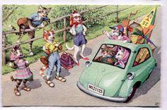 Cartão Postal Vintage Alfred Mainzer vestida cats/hitch hikers/vw bug/vacation # 4936 in Colecionáveis, Cartões postais, Animais | eBay