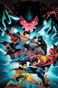 Batman, Superman, Robin, Superboy