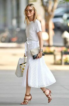 white tee + midi skirt + brown leather sandal