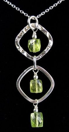 This innovative design is surprisingly simple to construct. Made from exquisite hand-cut rectangle peridot beads and all sterling silver components,...
