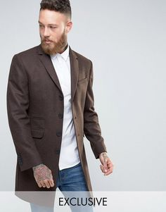 Heart & Dagger Overcoat in Tobacco - Brown