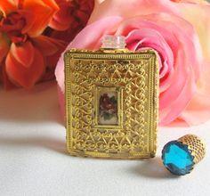 Petit Point Rose Metal Cover on Miniature by VintageParisDesign