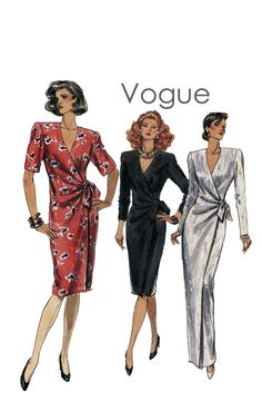Vintage 1980s Vogue 7534 SemiFitted Wrap by DesignRewindFashions, $9.00