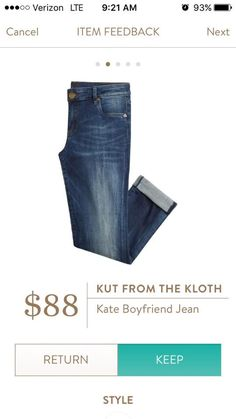 I keep asking for these! Love the look. Kut From the Kloth Kate Boyfriend Jean I love Stitch Stitch Fix Fall, Stitch Fit, Stitch Fix Outfits, Stitch Fix Stylist, Boyfriend Jeans, Mom Jeans, Men's Jeans, Boyfriend Girlfriend, Jeans Size