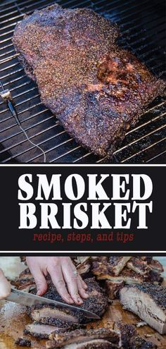 Smoked Brisket - How to plus Tips and Tricks - Vindulge - Recipe for Smoked Beef Brisket along with common questions and answers for perfect smoked brisket. Beef Brisket Recipes, Smoked Beef Brisket, Smoked Meat Recipes, Grilling Recipes, Pork Recipes, Wine Recipes, Grilling Ideas, Brisket Meat, Spinach Recipes