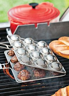 The Meatball Grill Basket helps you grill up 12 tasty, perfectly cooked meatballs. The perforated stainless-steel basket drains excess fat to make you feel a little better about eating all 12 meatballs. Price: $50