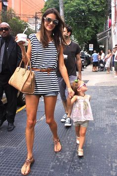 Alessandra Ambrosio - nautical boho day look, with very enviable legs!