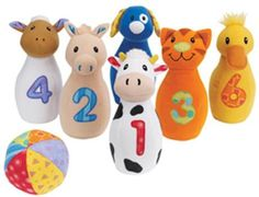 International Playthings Farm Friends Bowling! Award winning Baby Farm Friends Bowling is a set of 6 soft fabric, adorable, farm animal bowling pins and a bright multi-patterned ball. Perfect for holding, carrying, hugging and knocking down these animals are numbered from 1-6 with large contrasting fabric numerals. Featuring flat bottoms and distinctive chiming sounds Baby Farm Friends bowling is perfect for little ones. Great for motor skill development. 12+ months #kidsbowling