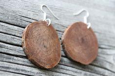 Wood Slice Earrings  Wood Pendant Earrings  by RoadNorthRusticArt