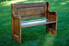Beautiful wood bench from a reclaimed door. LG Custom Woodworking  JUST SAW A CHURCH PEW SIMULAR TO THIS WITH BEAUTIFUL CUSHION AT PET STORE IN FLA...  ONE MADE FROM OLD HEAD & FOOT BOOR BED.... mlf:)