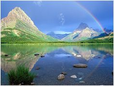 High resolution nature desktop wallpaper of Rainbow Reflections Swiftcurrent Lake Glacier National Park Montana (ID: Over The Rainbow, Rainbow Live, Beautiful Places To Visit, Places To See, Beautiful Days, Amazing Places, Glacier National Park Montana, Glacier Park, Rainbow Wallpaper