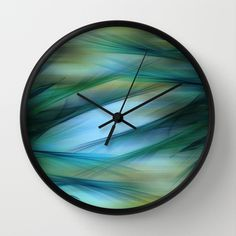 Soft Feathered Lights Abstract Wall Clock by Judy Palkimas - $30.00