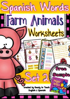 """English Words - WORKSHEETS - (Farm Animals) - Set 2 FREE - 11 pages """"English Words"""" is a set of English vocabulary sheets related to a particular topic or holiday. It is an engaging and motivational resource for the English classroom. Spanish Words, Spanish Lessons, How To Speak Spanish, English Words, Learn Spanish, Elementary Spanish, Teaching Spanish, Teaching English, Spanish Vocabulary"""