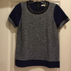 Madewell jeweled top Madewell jeweled top - short sleeve - zip back - excellent condition - size small - 100% cotton - textured material. Madewell Tops Blouses